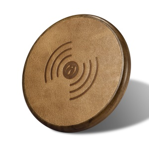 ICARER NW170F Genuine Leather Coated Wooden QI Wireless Charger Support Fast Charge for Samsung Galaxy S7 - Coffee
