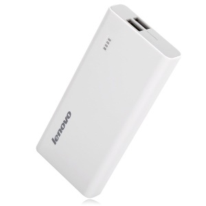 Lenovo PA10400 10400mAh Dual USB Power Bank for iPhone iPad Samsung HTC - White
