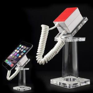 Anti-theft Security Mobile Phone Display Stand Holder with 70cm Spring Wire - Transparent