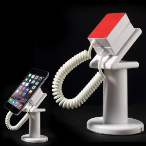 Anti-theft Security Mobile Phone Display Stand Holder with 70cm Spring Wire - White