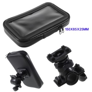 L Size Bicycle Handlebar Mount Daily Waterproof Case Holder for iPhone X / 8 / 7 Etc, Inner size: 150x85x25mm - Mount Style A