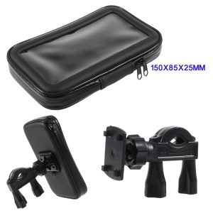 L Size Bicycle Handlebar Mount Daily Waterproof Case Pouch for iPhone X / 8 / 7 Etc, Inner size: 150x85x25mm - Mount Style C