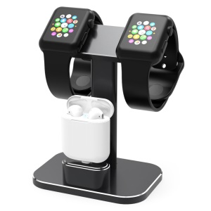 HJZJ003 Aluminum 2 In 1 Airpods Apple Watch Stand Dual Head iWatch Charging Stand Dock Station - Black