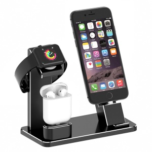 HJZJ001 Apple iWatch iPhone Stand AirPods Charging Stand Aluminum Dock Accessories Station Holder - Black