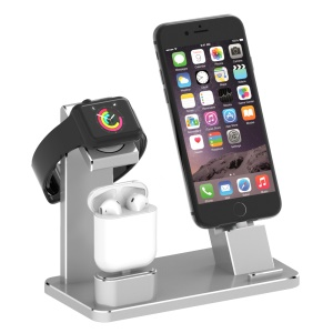 HJZJ001 Apple iWatch iPhone Stand AirPods Charging Stand Aluminum Station Accessories Station Holder - Silver Color