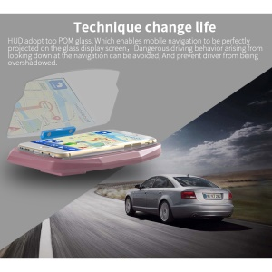 Universal In-car HUD Head-up Display Mobile Phone GPS Navigation Holder - Pink