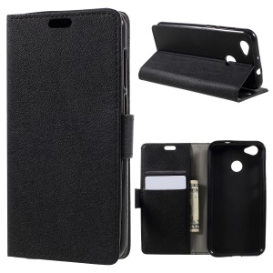 Wallet Stand PU Leather Protective Case for ZTE Blade A6 - Black