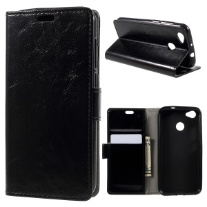 Crazy Horse Stand Wallet Leather Protection Mobile Shell for ZTE Blade A6 - Black