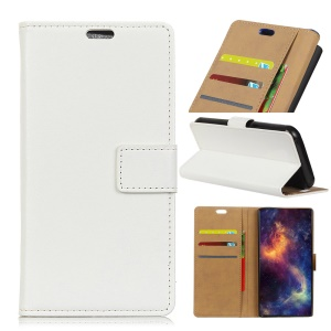 For ZTE Blade A520 PU Leather Wallet Stand Folio Protective Case - White