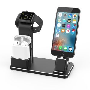 AUX-02 Apple Watch Stand Aluminum AirPods Stand iPhone Charging Dock Holder - Black
