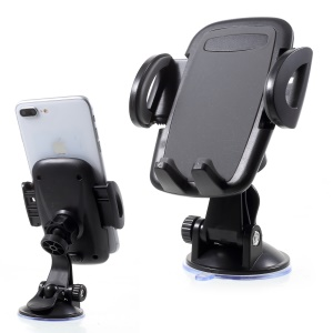 Universal 2-In-1 Car Air Vent Mount + Windshield Suction Cup Phone Holder, Width: 50-95mm - Black