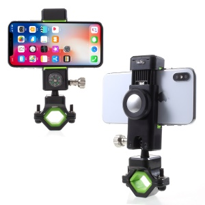 Universal Bike Phone Holder LED Light Handlebar Mount Stand with Compass, Clamp Width: 50-90mm - Green