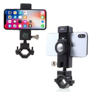 Universal Bike Cell Phone Holder LED Light Handlebar Mount Bracket with Compass, Clamp Width: 50-90mm - Black