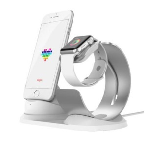 Aviation Aluminum Charging Dock Stand for Apple Watch and iPhone etc - Silver