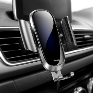 BASEUS Future Series Glass Surface Gravity Car Air Vent Mount Stand for iPhone Samsung - Silver