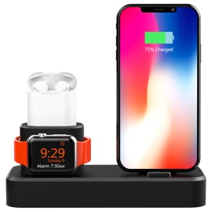 AJGJZJ001 3-in-1 Charging Stand for iPhone/iWatch/Airpods Silicone Charging Dock Station - Black