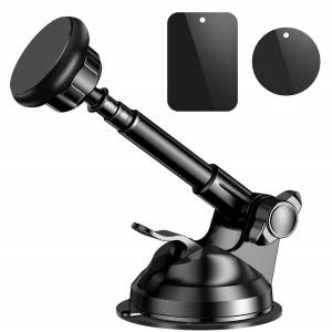 Universal Strong Magnetic Attraction Car Phone Mount Adjustable Magnetic Mount Car Holder for iPhone Samsung Huawei Etc. - Black