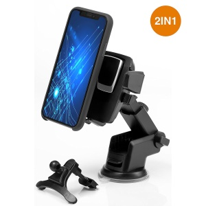 2 in 1 Car Mount Dashboard Air Vent Car Cell Phone Holder Auto Lock 360° Rotation