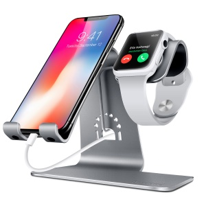 BESTAND 2-in-1 Apple Watch Charging Mount Stand Holder and Phone Desktop Tablet Dock for iPhone X/8 Plus/8/7 Plus - Grey