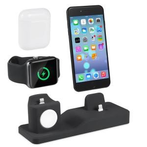 3-in-1 Silicone Holder Dock Charger Stand Mounts Base for Airpods iPhone iWatch - Black