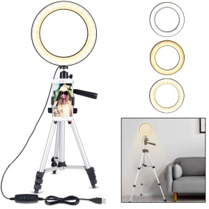 7.9inch Dimmable Desktop LED Selfie Ring Light with Phone Holder