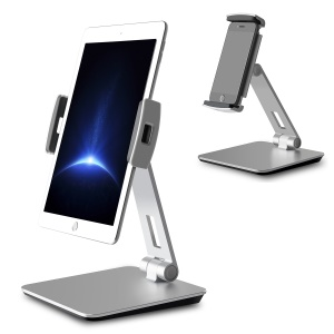 Foldable Rotary Aluminium Alloy Desktop Holder Stand for Smartphone Tablet - Grey
