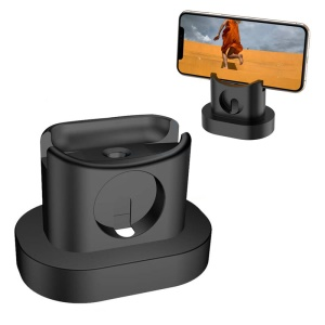 3-in-1 Mobile Phone Watch Headset Charging Bracket Silicone Charging Stand for Airpods/iPhone/iWatch - Black