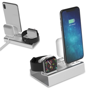 3-in-1 Aluminium Alloy Apple iWatch Stand + Airpods Charger Dock + Phone Desktop Tablet Holder - Silver