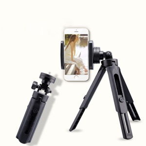 Digital Camera Mount Mobile Phone Clip Fixed Bracket Desktop Tripod Stand Adjustable Angle - Black