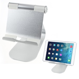 Adjustable Aluminum Alloy Desktop Stand Holder for iPad iPhone Tablet PC - Silver Color