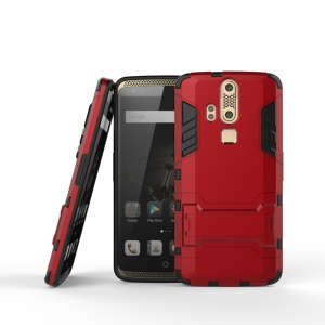 Cool Plastic + TPU Shell Case Cover with Kickstand for ZTE Axon Lux - Red