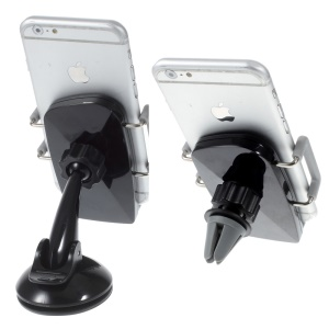 2-in-1 Air Vent + Windshield Car Mount Cradle for iPhone 6s/6, Width: 50-90mm - Grey