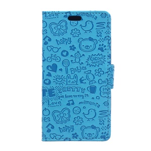 Cartoon Graffiti Leather Card Holder Case for ZTE Blade S7 - Blue