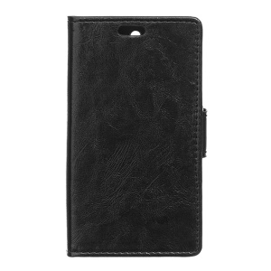 Crazy Horse Leather Wallet Case Stand for ZTE Obsidian - Black
