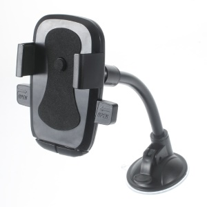 Rotary Goose Neck Car Suction Cup Mount for Samsung Note5, Width: 58-81mm - Black
