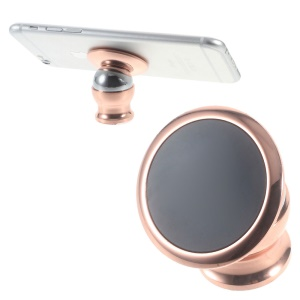 Magnetic Metal Car Mount Cradle Kit for iPhone Samsung Smartphone - Rose Gold Color