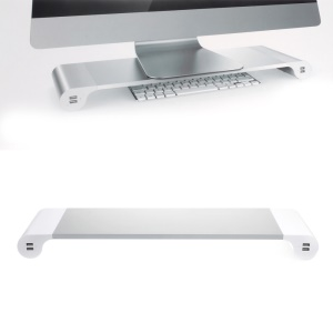 Monitor Stand Space Bar Desk Organizer with 4 USB Ports - EU Plug