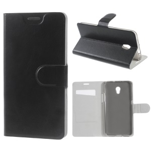 Crazy Horse Leather Stand Case for ZTE Blade V7 with Steel Sheet - Black