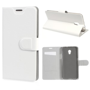Crazy Horse Leather Stand Cover for ZTE Blade V7 with Steel Sheet - White
