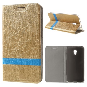 Lines Texture Leather Stand Cover for ZTE Blade V7 with Steel Sheet - Gold