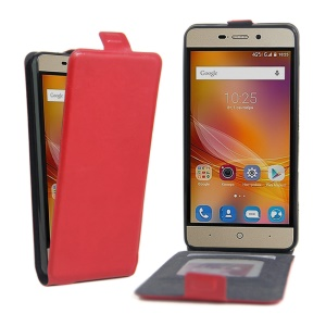 Crazy Horse Magnetic Leather Vertical Case for ZTE Blade X3 - Red