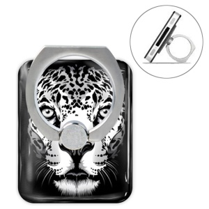 Animal Head Series Metal Ring Holder 360 Degree Rotation Stand - Leopard