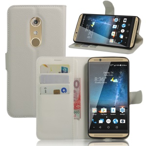 Litchi Skin Leather Wallet Cover for ZTE Axon 7 - White