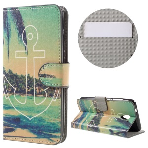 Patterned Wallet Leather Protective Phone Case for ZTE Blade A510 - Sea and Anchor