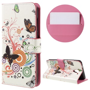 Flip Leather Wallet Phone Shell for ZTE Blade A510 - Butterflies and Circles