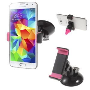 2-in-1 Rotating Car Air Vent + Suction Cup Mount Holder for iPhone Samsung Sony Huawei etc, Width: 5.8-9cm  -Rose