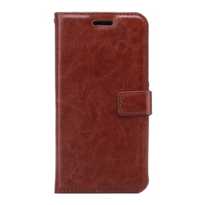 Crazy Horse Wallet Leather Stand Protective Cover for ZTE Axon 7 - Brown