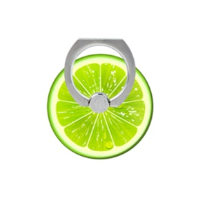 Patterned Finger Ring Kickstand Cable Winder for iPhone iPad etc - Green Lemon