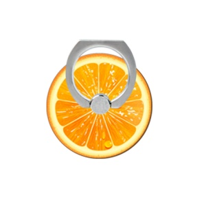 Fresh Fruit Pattern Finger Ring Kickstand Cable Winder for iPhone iPad etc - Orange