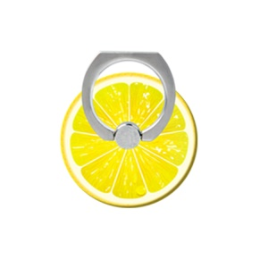 Fresh Fruit Pattern Finger Ring Kickstand Cable Winder for iPhone iPad etc - Lemon